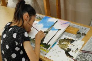 金沢美術学院のこども絵画教室、風景を油絵で