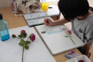 金沢美術学院のこども絵画教室、水彩の練習